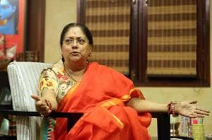 Rajasthan CMVasundhara Raje at the chief minister's office  in Jaipur December 12, 2017.
