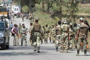 Security forces after a Maoist attack at a remote place called Jhiram Ghati.