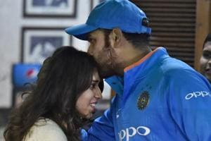 Rohit Sharma, Indian cricket team captain, with wife Ritika Sajdeh after winning the second ODI against Sri Lanka in Mohali on Wednesday.