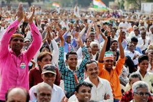 Supporters during a Congress rally in Dakor, Gujarat.