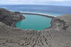 A view of the recently-formed Tongan island, unofficially known as Hunga Tonga-Hunga Ha
