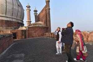 Teams of the Archaeological Survey of India (ASI), National Disaster Management Authority and Delhi Wakf Board inspect damage in the Jama Masjid in New Delhi on Thursday.