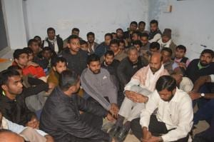 Seminarians and priests at Civil Lines police station at Satna after they were allegedly attacked by Bajrang Dal activists.