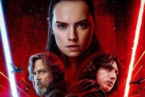 Daisy Ridley, Mark Hamill and Adam Driver as Rey, Luke and Kylo Ren in Star Wars: The Last Jedi.