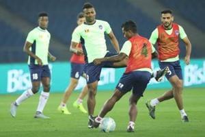 Delhi Dynamos footballers practice ahead of their Indian Super League match against FCGoa.