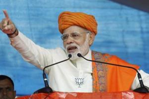 Prime Minister Narendra Modi addresses an election rally, Dhandhuka village, Ahmedabad, Gujarat