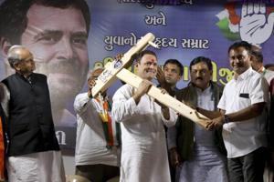Congress vice-President Rahul Gandhi at a public meeting in Amreli, Gujarat, November 29, 2017