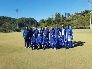Members of The Doon School old boys' team at Abhimanyu Cricket Academy in Dehradun on Saturday.