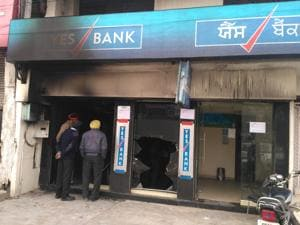 The building of the Yes Bank branch on Tibri Road in Gurdaspur that caught fire early on Saturday.