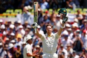Australian cricket team captain Steve Smith celebrates reaching his century during the third day of the third Ashes Test match at Perth.