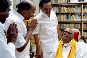 Karunanidhi visits DMK party headquarters in Chennai after almost a...