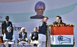 Sonia Gandhi gets emotional as she hands over baton to son Rahul,...