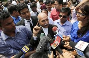 VK Anand, defence lawyer for one of the four men found guilty in the December 16 Delhi gang-rape case, speaks with the media after the verdict.