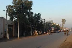LED streetlight poles installed at a road from Rashtriya Foundry to Amritsar bypass in Batala.