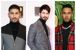 The turtleneck trend is seeing a resurgence and the garment has been reinvented for this winter, as we see on Bollywood actors Prateik Babbar and Shahid Kapoor, and Formula One champion Lewis Hamilton.