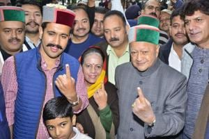 Virbhadra Singh crushed rivals within the state Congress unit to ensure a smooth ride for his son, Vikramaditya (right).