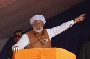 Prime Minister Narendra Modi speaks during an election campaign rally at Jasdan in Gujarat.