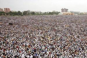 A Patidar rally in Ahmedabad.  They had been a traditional BJP votebank but were angry with the party over the denial of quotas in jobs and education.