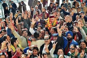BJP candidate from Shimla Urban Suresh Bhardwaj celebrating his victory with supporters on Monday.