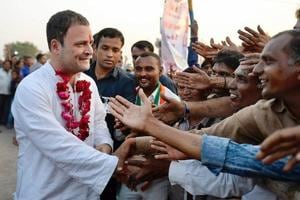 Congress President Rahul Gandhi is greeted by supporters at a a rally in Nari Chokdi, Bhavnagar, Gujarat.