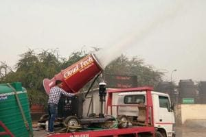 An anti-smog gun being tested at Anand Vihar in east Delhi.