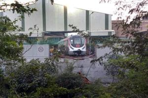 The Magenta Line train broke through a boundary wall at the Kalindi Kunj depot during a trial run on Tuesday afternoon