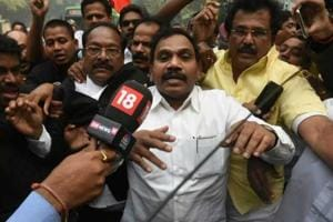 DMK's A Raja arrives at the Patiala House Courts ahead of the verdict in 2G spectrum scam case in New Delhi on Thursday.