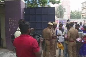Scene at a polling booth in RKNagar constituency.