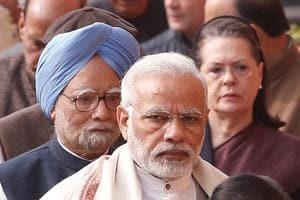 Afile photo of Prime Minister Narendra Modi (centre) with his predecessor Manmohan Singh (left) and Congress leader Sonia Gandhi in New Delhi.