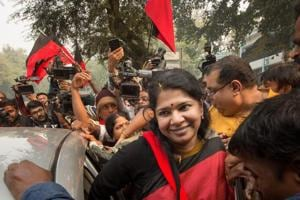 DMK MP Kanimozhi after she was acquitted by a special court in the 2G scam case, in New Delhi on Thursday.
