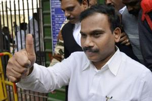 Former telecom minister A Raja at the Patiala House Courts after he was acquitted by a special court in the 2G scam case, New Delhim December 21