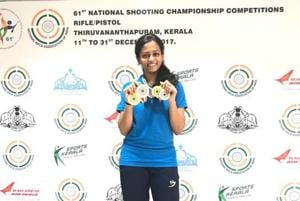 20-year-old Shreya Saksena bagged seven medals at the National shooting championships held in Thiruvananthapuram in December 2017.