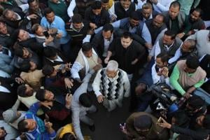 Lalu Prasad Yadav proceeding to appear before a special CBI court in Ranchi.