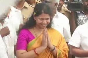 DMK's Rajya Sabha MP Kanimozhi arrives at Chennai airport on Saturday.