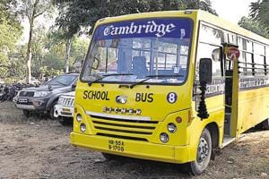 A three-year-old boy was crushed to death by a school bus when he was allegedly trying to catch a balloon in Mushidpur village in Farrukhnagar,