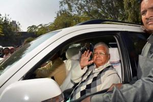 RJD supremo Lalu Prasad arrives at a special CBI court for a hearing in the fodder scam case in Ranchi on Saturday.