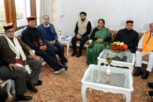 Defence minister Nirmala Sitharaman during a meeting with senior BJP leaders in Shimla on Thursday.