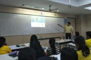 A health awareness drive in session at Mithibai College in Vile Parle.