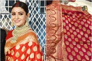 Left: The Benarasi sari that actor Anushka Sharma wore at her wedding reception in Delhi had a traditional pattern; Right: The sari that Neha Srivastava says she purchased from Delhi in October 2017.