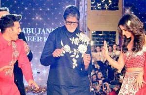 Amitabh Bachchan, Shah Rukh Khan, Alia Bhatt and Varun Dhawan pose for...