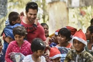 Varun Dhawan with the kids of St. Catherine of Siena School for destitute children and orphanage in Bandra.