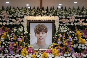 A portrait of Kim Jong-hyun, the lead singer of top South Korean boy band SHINee, is seen on an altar during a memorial service for him in Seoul, South Korea, December 19, 2017.