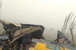 A school bus collided with a truck in Mainpuri Monday, injuring 10 students of a school that was open on Christmas Day.