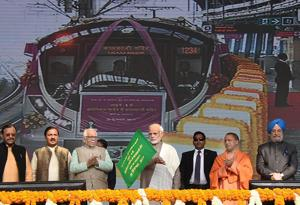 Prime Minister Narendra Modi flags off Metro's Magenta Line in Noida on Monday.