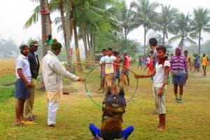 Volunteers undergo training at the camp.