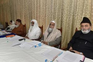 Officials of the All India Muslim Personal Law Board (AIMPLB) during a meeting on 'triple talaq