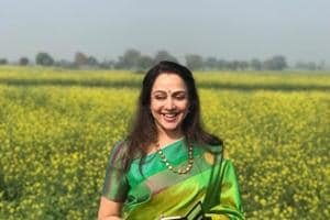 Hema Malini visits mustard fields and this picture is proof she is...