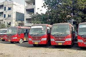 The minibuses bought under the central scheme parked in Bathinda.