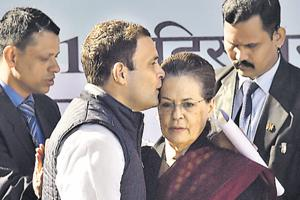 Congress president Rahul Gandhi  greets his mother and predecessor Sonia Gandhi, New Delhi, December 16.