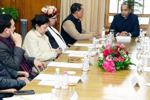 Chief Minister of Himachal Pradesh Jai Ram Thakur chairing the first cabinet meeting in Shimla after swearing-in ceremony, on Wednesday.